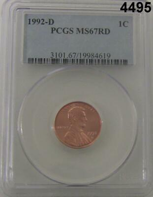 1992 D Lincoln Cent Pcgs Certified Ms67Rd Fine Red! #4495