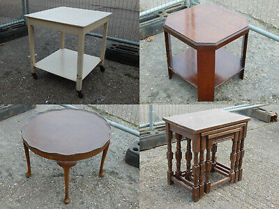 8x vintage retro coffee / side / nested tables two tier antique pie crust wheeld
