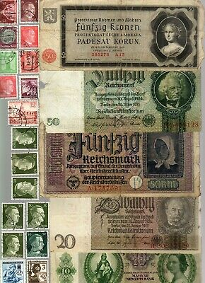 Nazi Germany And Occupied Europe Banknote, Coin And Stamp Set  # 94