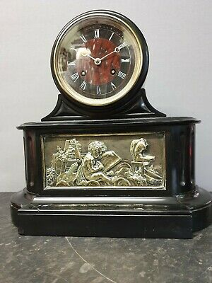 Vintage Black Slate Leroy & Fils 8 Day Table Clock with Bell Strike