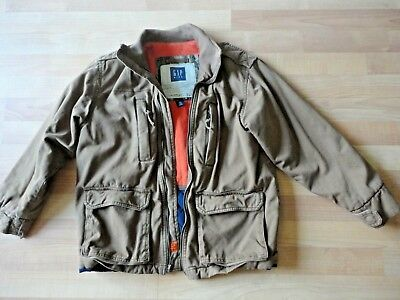 GAP Kids Boys Size 10 Brown Jacket Coat with Orange Flannel Lined - EUC