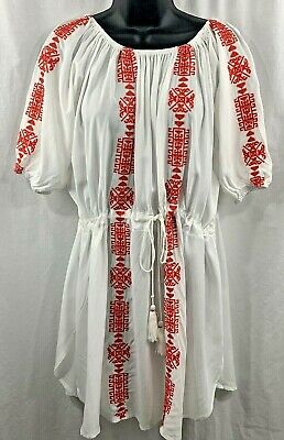 ab885867be Beach Pool Cover Up New with Tags Cupshe White Red Embroidery One Size  Waist Tie