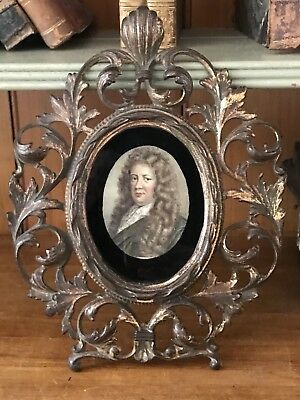 18th/19th Century Samuel Pepys Miniature Portrait in a Baroque Style Table Frame