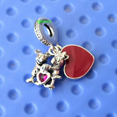 925 Sterling Silver Disney Minnie Mickey With Love Charm Fit European Bracelet