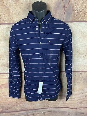 6f0f0206 New Tommy Hilfiger Button Up Shirt Indigo Men Size Small Slim Fit Msrp $65  (a14