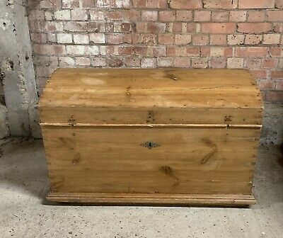 A 19th Century Stripped Pine Dome Top Wedding Chest with Side Carrying Handles