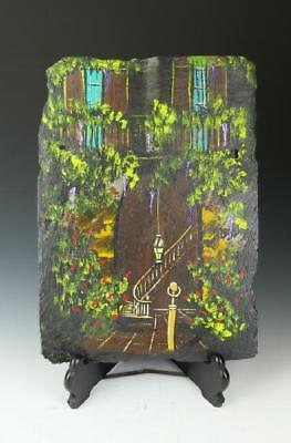 French Quarter Scene Hand Painting by M. Chapoton on 100-200 Yrs old Slate Tile