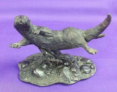 Otter Cold Cast Bronze Sculpture By Heredities Ltd Kirby Stephen Vintage VGC