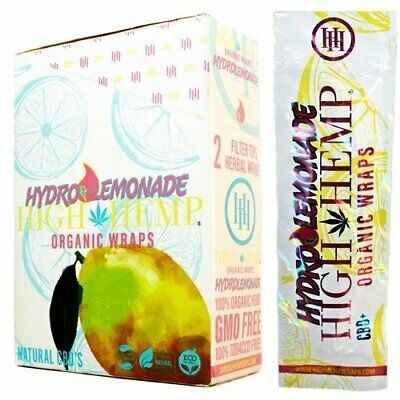 High Hemp Organic Wrap 25 Pouch in Full Box 2 in a Pouch 50 Wraps Hydro lemonade