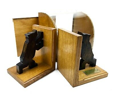 Vintage German Wooden Bookends In Original Box / Display Case / Bear / Rare
