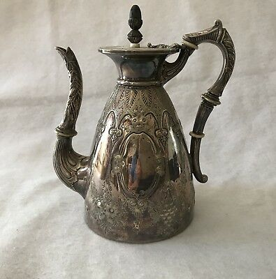 Antique Walker and Hall Silverplate, Ornate Coffee Server Ivory On Handle EUC