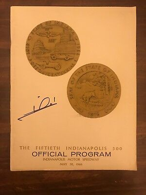 Mario Andretti Signed 1966 Indianapolis 500 Racing Program Autographed 1st Pole