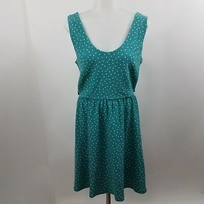 54f38d6a LC Lauren Conrad Dress M Polka Dot Teal White Criss Cross Sleeveless A-line
