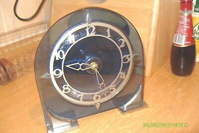 Mantel  Clock Art  Deco Looking Clock  Blue Glass  & Chrome