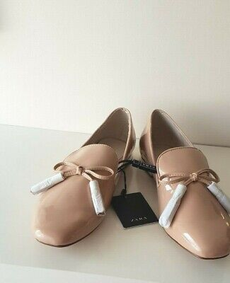 9f97bb89523 ZARA beige-pink FAUX PATENT LEATHER TASSEL LOAFERS WITH BOW DETAIL SIZE 4  EU 37