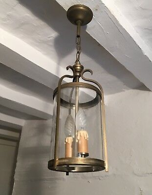 Vintage French Gilded Brass Cylinder Lantern 2 Light Porch Pendant