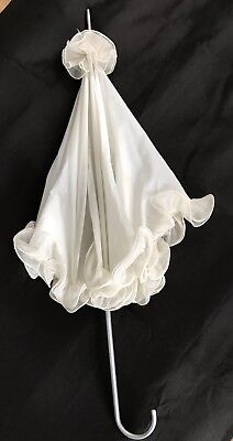 Antique Silk Beige Ivory Parasol Victorian Style Ruffled metal Handle