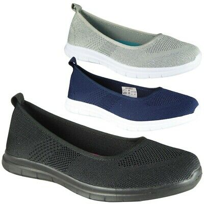 Womens Slip On Trainer Ladies Pumps Comfy Casual Loafer Low Flat Shoes Sizes