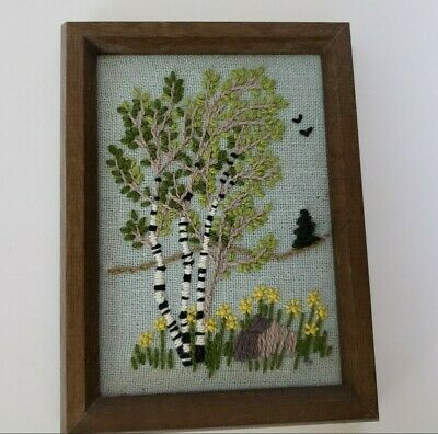 "Vintage Nature Scene Crewel Embroidery Trees Flowers Framed Art  6""x8"""