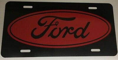 Black aluminum license plate tag red Ford logo car truck