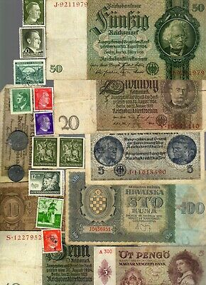 Nazi Germany And Occupied Europe Banknote, Coin And Stamp Set  # 49