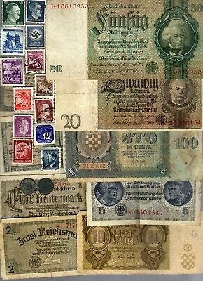 Nazi Germany And Occupied Europe Banknote, Coin And Stamp Set  # 145