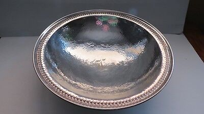 Sterling  Arts & Crafts Hand Wrought & Hammered Serving Bowl Meriden Brittania