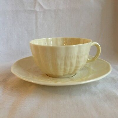 "BEAUTIFUL BELLEEK TRIDACNA Yellow Shell TEA WARE ''CUP & SAUCER"" Set GREEN MARK"