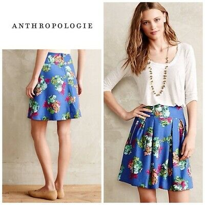 169e856f64 Anthropologie Maeve Garden Days Skirt size 2 Blue Floral Print Pleated  A-Line