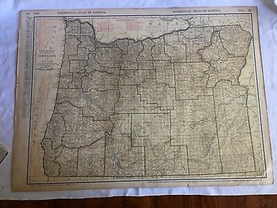 Antique Rand McNally Oregon Commercial Atlas Map Railroad Shippers' Guide
