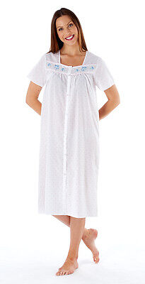 Ladies Short Sleeved Button Through Striped/Spot Poly/Cotton Nightdress 10 - 24