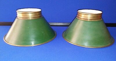 vintage brass green lamp shades lot of 2