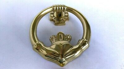 Brass Claddagh Hands Door Knocker - Irish - Heart - Love - Marriage