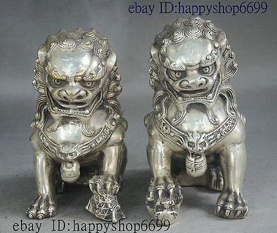"""6"""" China FengShui Palace Silver Exorcism Door Guard Foo fu dog Lion Statue Pair"""