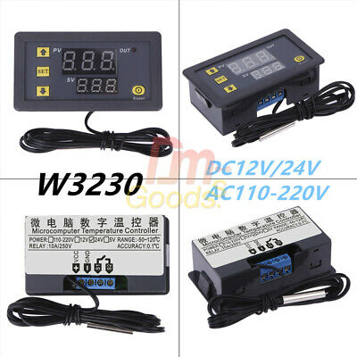 DC12/24V 110-220V 10A/20A LCD Thermostat Temperature Controller Regulator W3230