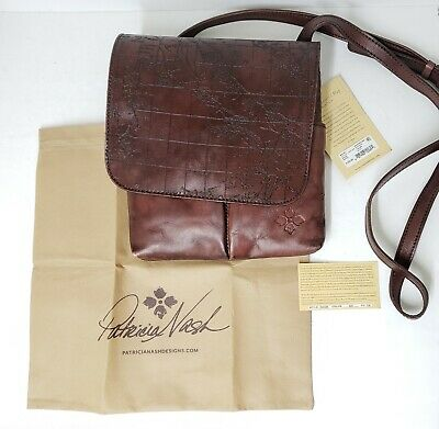 Patricia Nash GRANADA Vintage Leather Laser Map Rust Crossbody Bag $129.00 P6