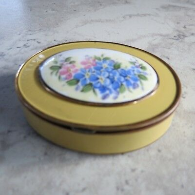 Vintage Bliss Bros.Co Yellow Floral Enamel guilloche Compact Oval 1930-40's