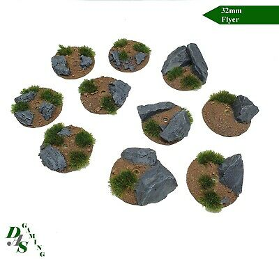 32mm Round Flyer Resin Base Rock Outcrops Tau Drone WH40K