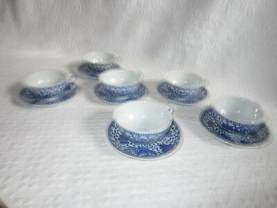 6 Antique eggshell porcelain blue/white Pheonix Cups & Saucers Japan Deco 1920