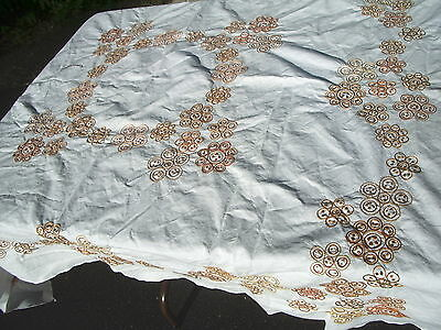 """Tablecloth Scandinavian Modern Embroidered White Circles in Browns Golds 50""""sq"""