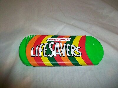 Vintage Life Savers Candy Plastic Comb & Mirror Set Purse Vanity Five Flavors