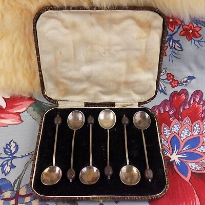 Boxed Set 6 Sterling Silver Coffee Bean Demitasse Spoons Arthur Price & Co. 1936