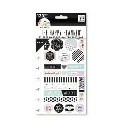 Happy Planner Washi Stickers - Live Big 130 Stickers 5 Pages Purple Mint Black