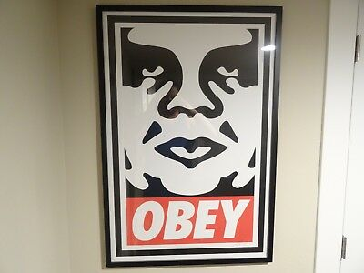 MINT FRAMED Shepard Fairey OBEY Icon Signed Print Poster Obey Giant 24X36 RARE