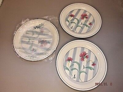 "NEW Lot of 3 Lenox POPPIES ON BLUE BOTANICAL 10 3/4"" Dinner Plates Millenium Ed."