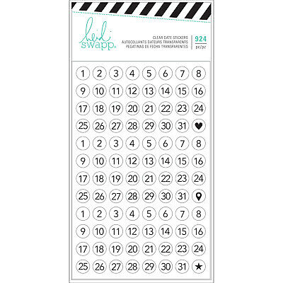 Heidi Swapp Clear Date Stickers 7 Sheets in Pack 924 Mini Stickers