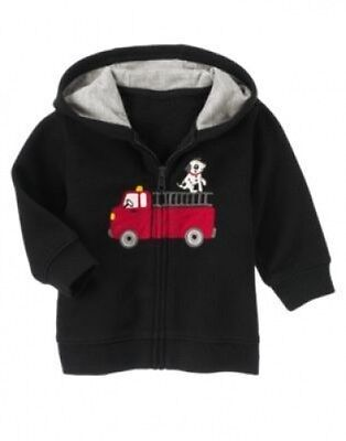 NWT~Gymboree FIREHOUSE PUP firetruck with dog black zip hoodie jacket~3-6