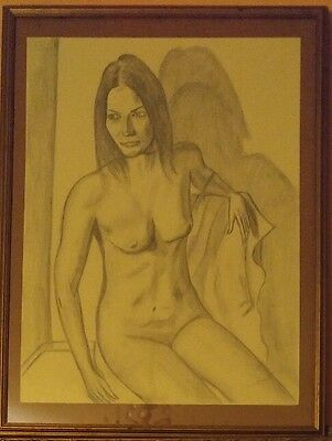 Large Pencil Drawing On Paper Of The Woman Signed And Framed