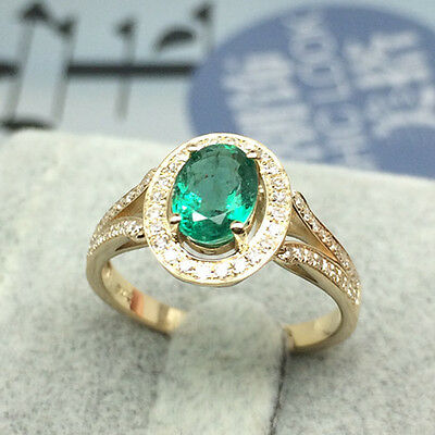 Excellent 1.22ct Natural Colombia Emerald Good Diamond Ring In 18k Yellow Gold