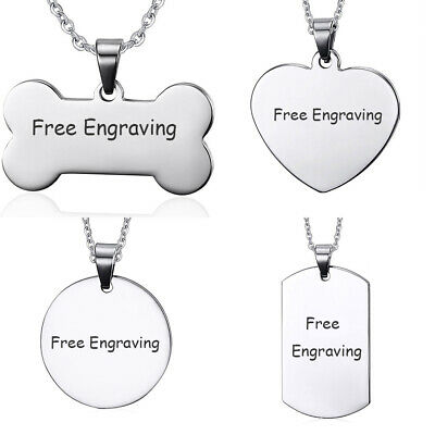 Personalized Men Women Name Necklace Pendant Dog Tag Custom Free Engraved Gift